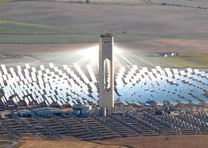 Solar Power Tower And Heliostats For Really Hot Water